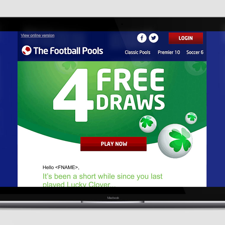 Football Pools: '4 Free Draws' Email Campaign | Portfolio